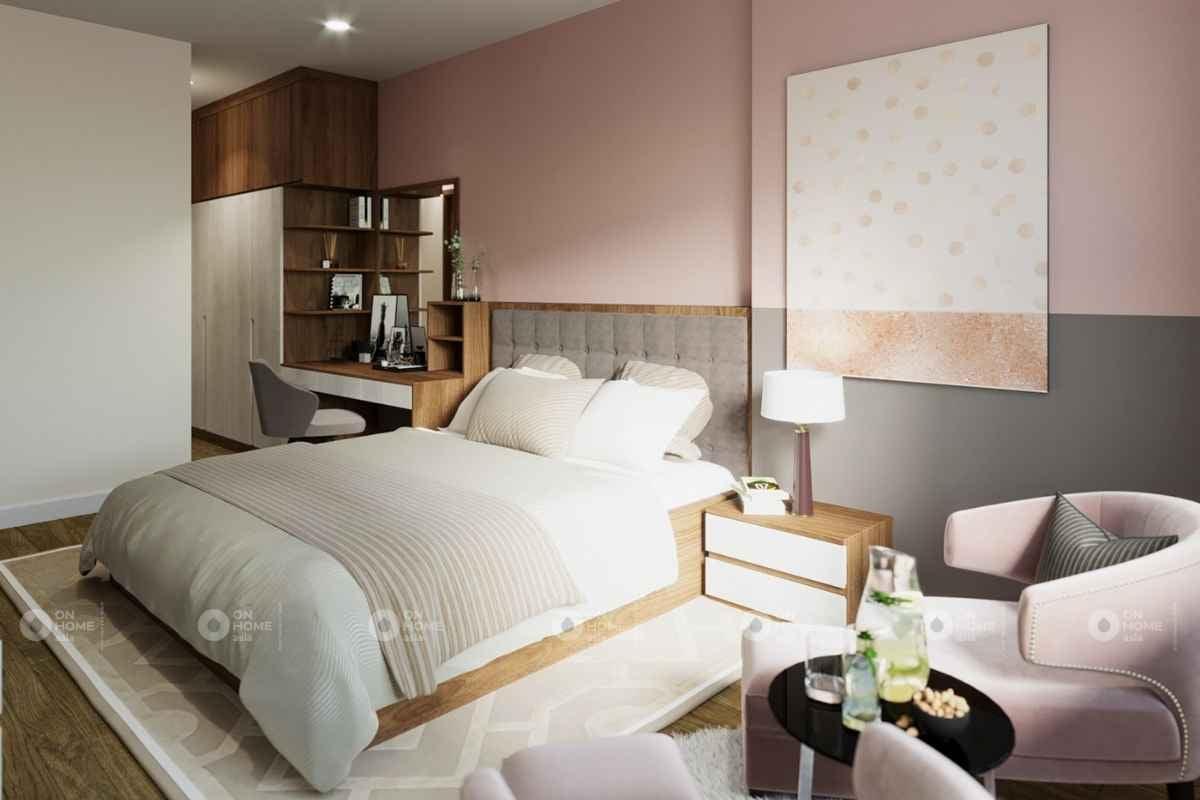 Phòng ngủ màu hồng phấn nhẹ nhàng