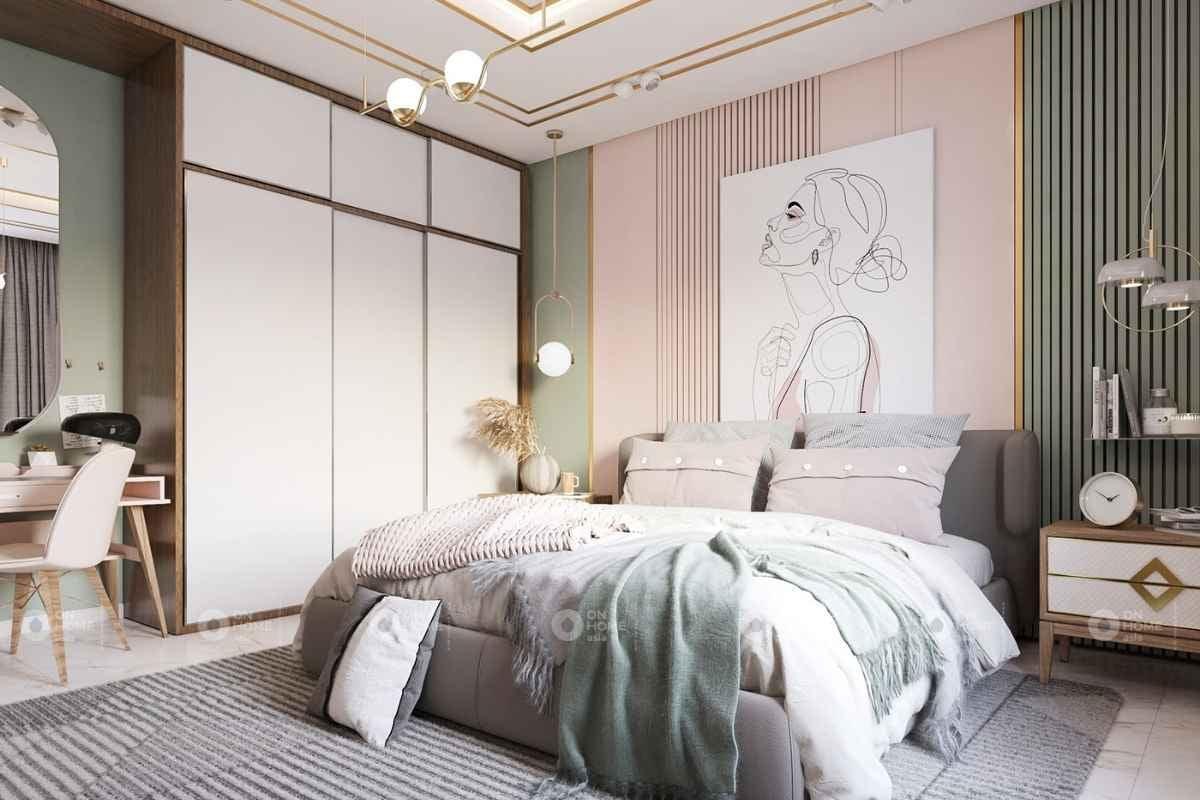 Phòng ngủ màu hồng sang trọng
