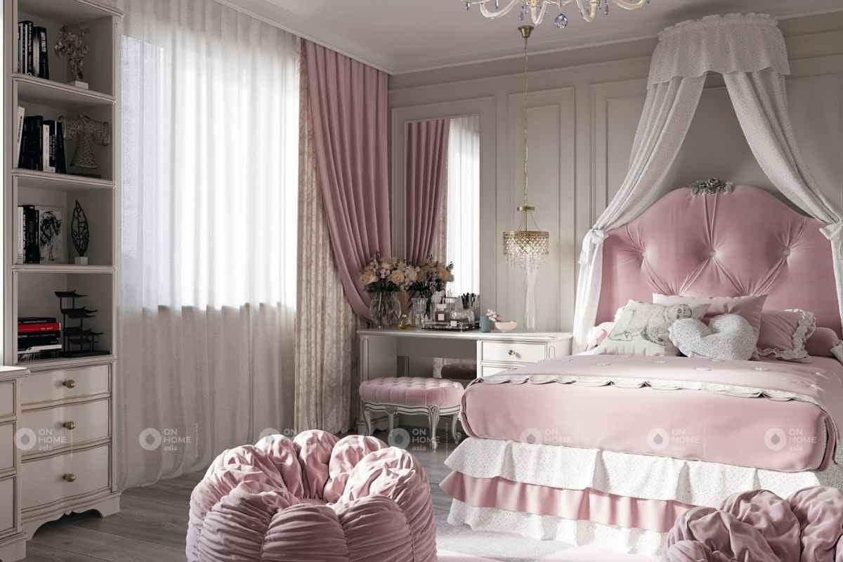 Phòng ngủ màu hồng tân cổ điển