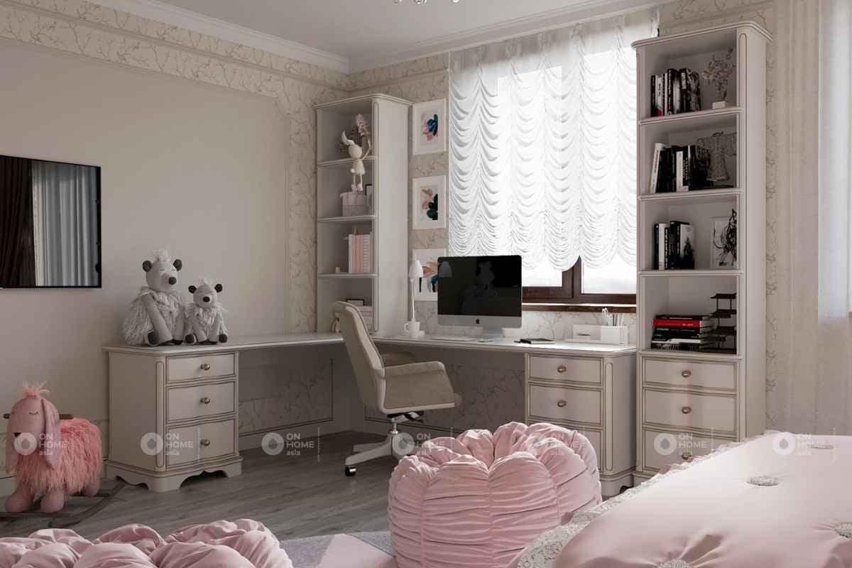Phòng ngủ màu hồng theo phong cách tân cổ điển