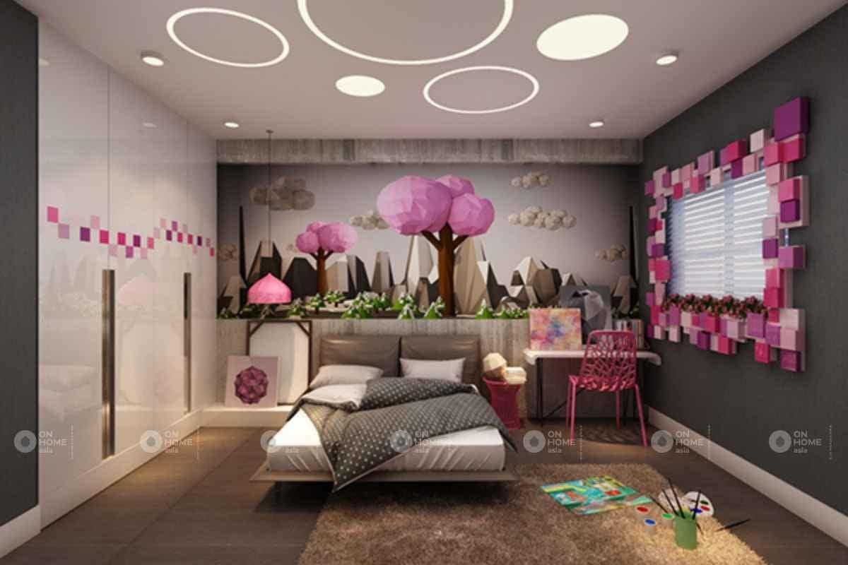 Phòng ngủ màu hồng tím đẹp