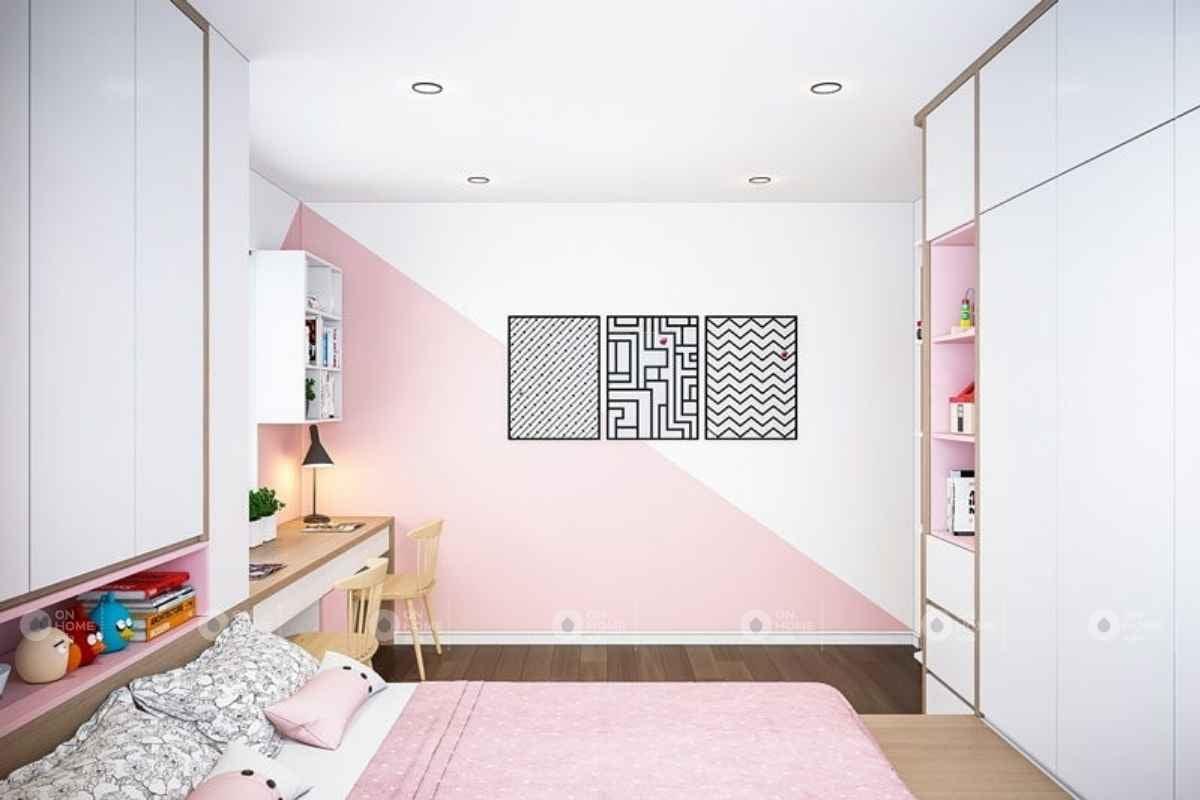 Phòng ngủ màu hồng kết hợp màu trắng