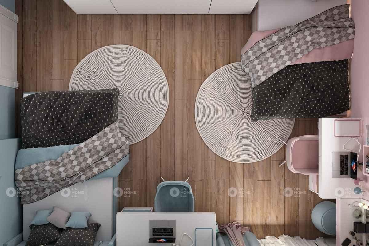 Phòng ngủ màu hồng và xanh