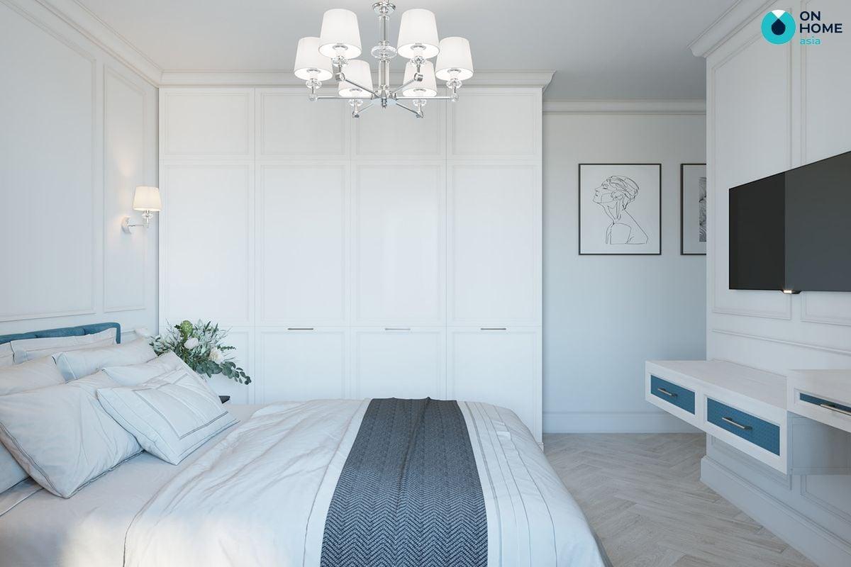 Phòng ngủ trở nên nổi bật với màu trắng tươi sáng