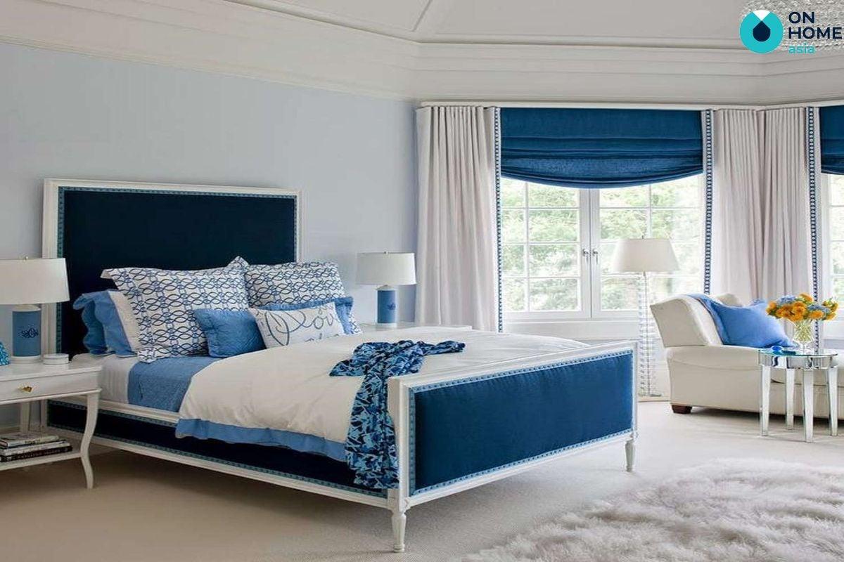 Phòng ngủ màu xanh trắng