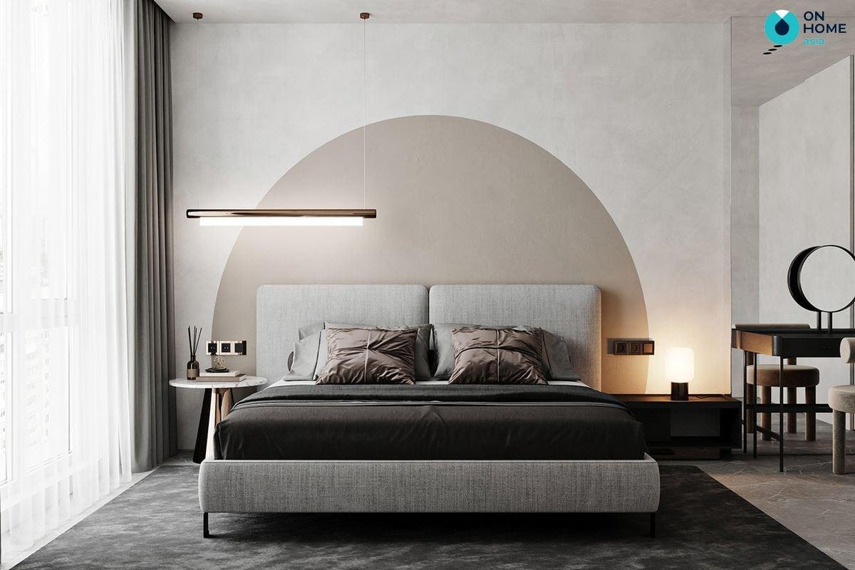 Nội thất phòng ngủ với màu xám trầm ấm, mang lại cảm giác thư giãn cho gia chủ