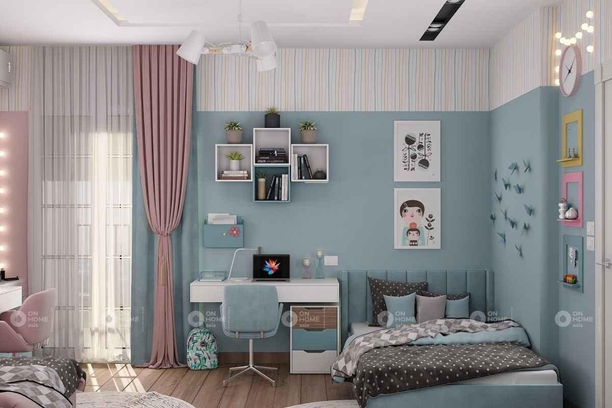 Phòng ngủ màu xanh và màu hồng nhạt