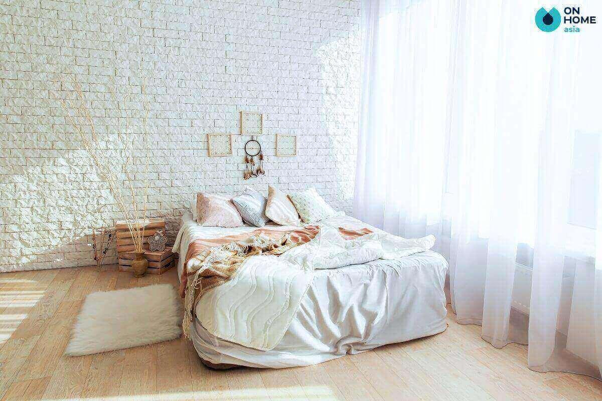 phòng ngủ tối giản màu trắng chủ đạo