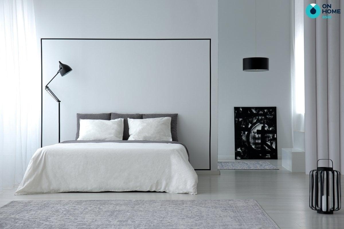 phòng ngủ 20m2 với 2 gam màu đối lập