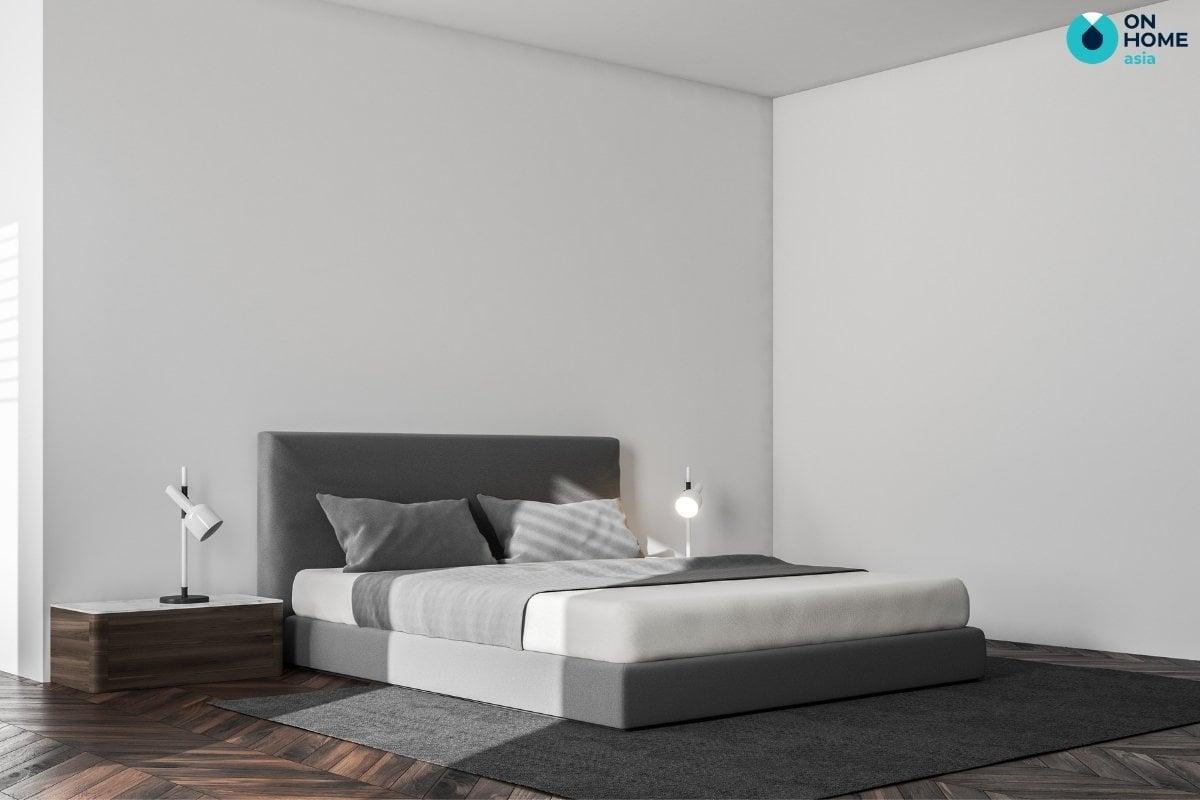Phòng ngủ tối giản màu trắng xám