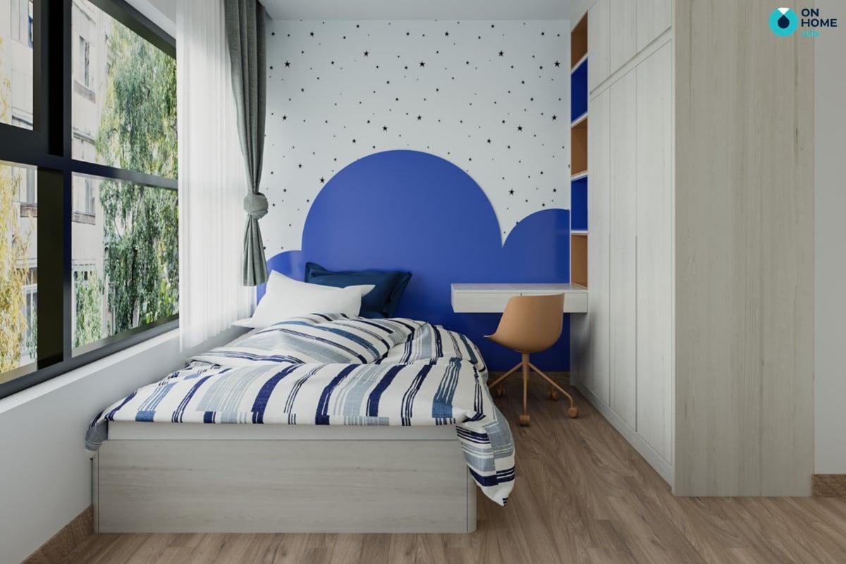 Nội thất phòng ngủ trẻ em sử dụng gam màu xanh
