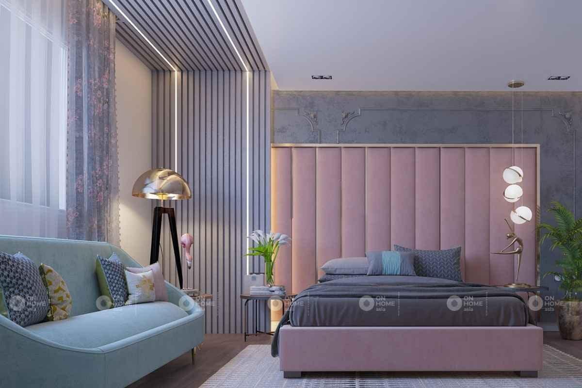 Phòng ngủ với giường màu hồng