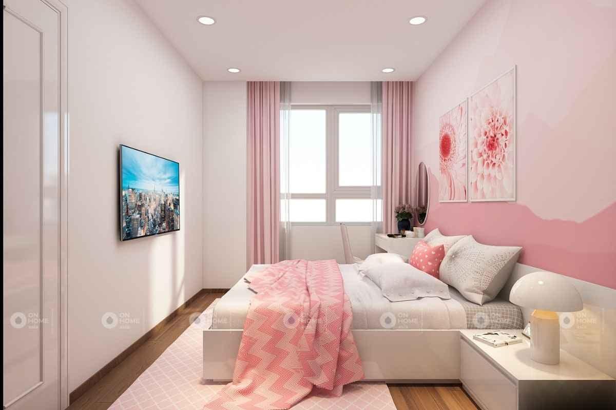 Phòng ngủ với nội thất màu hồng