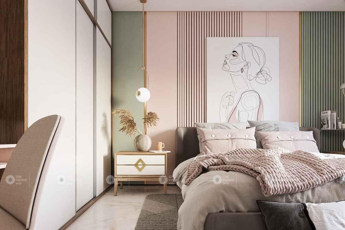 Phòng ngủ với nội thất màu hồng sang trọng