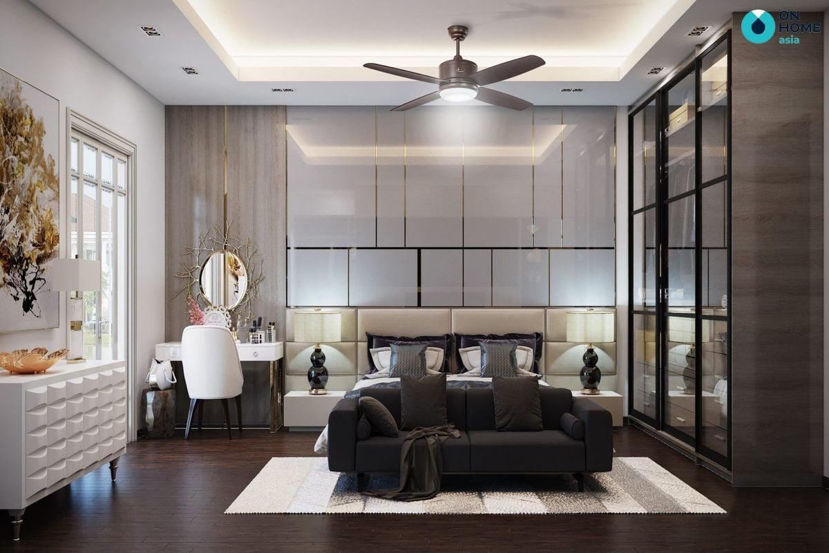 Thiết kế nội thất phòng ngủ với quạt trần