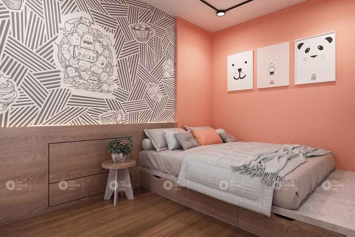 Sơn tường phòng ngủ màu hồng cam