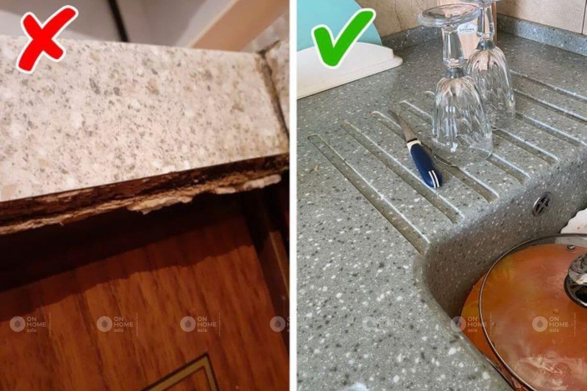 Nên sử dụng mặt bếp độ bền cao và kháng nước tốt.