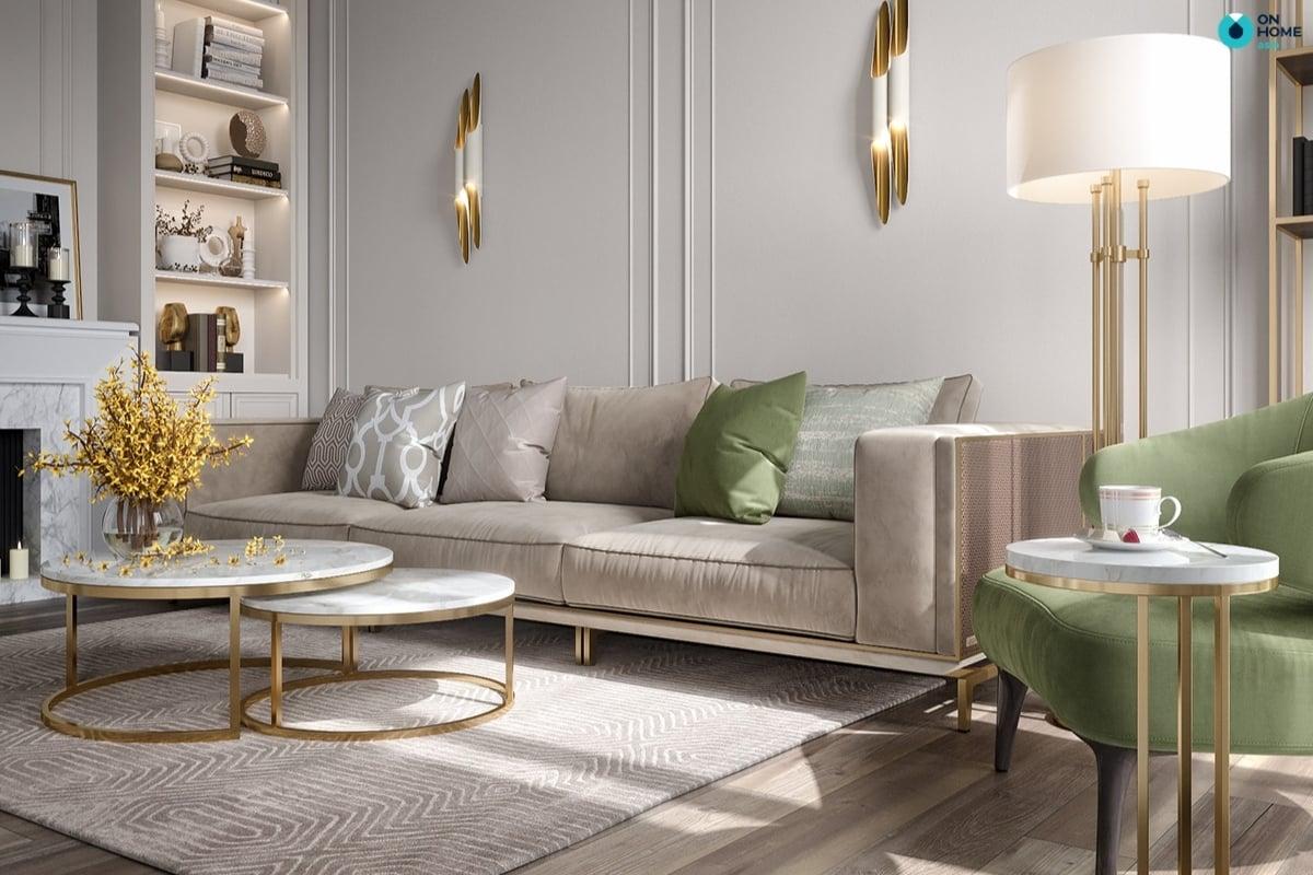 Nội thất kim loại, ánh kim dành cho thiết kế phòng khách
