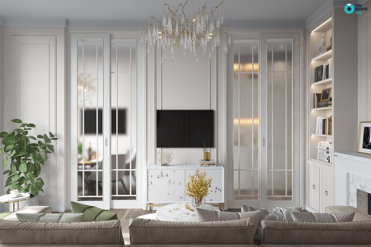 Nội thất phong khách được thiết kế theo phong cách tân cổ điển