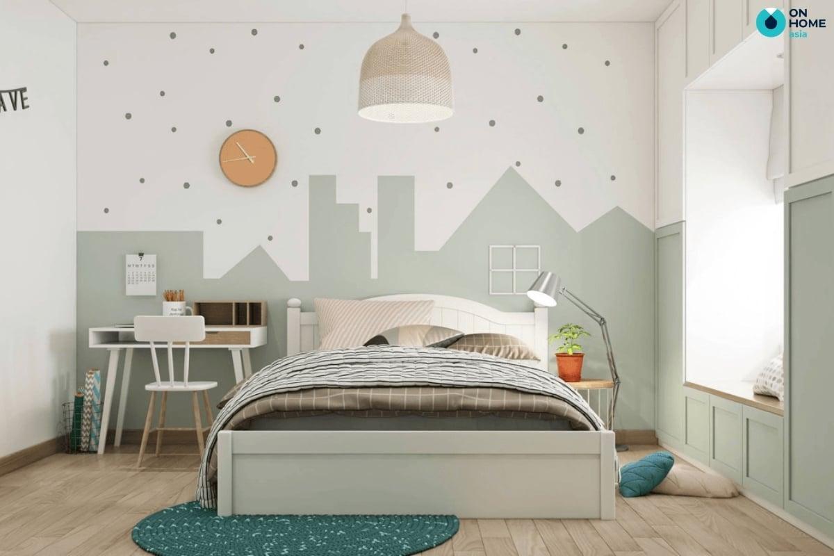 phòng ngủ bé gái với thảm trải sàn tinh tế