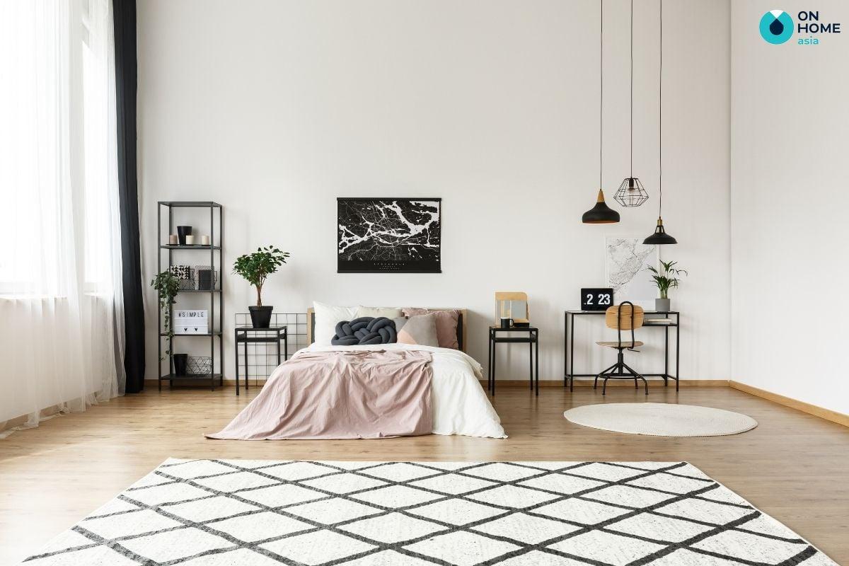 Trang trí thảm phòng ngủ giúp tăng thêm tính thẩm mỹ và sự ấm cúng cho căn phòng