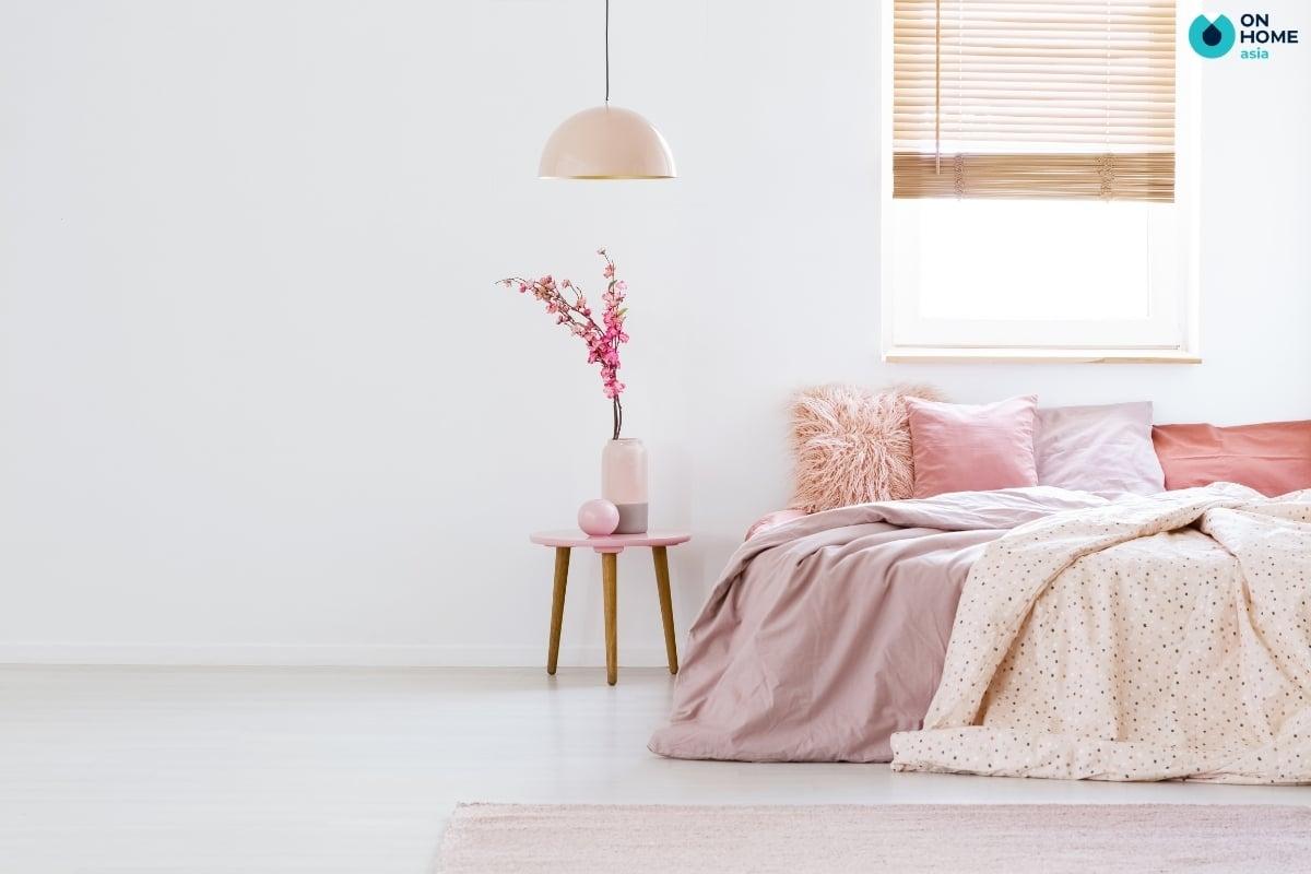 thảm lông ngắn màu hồng