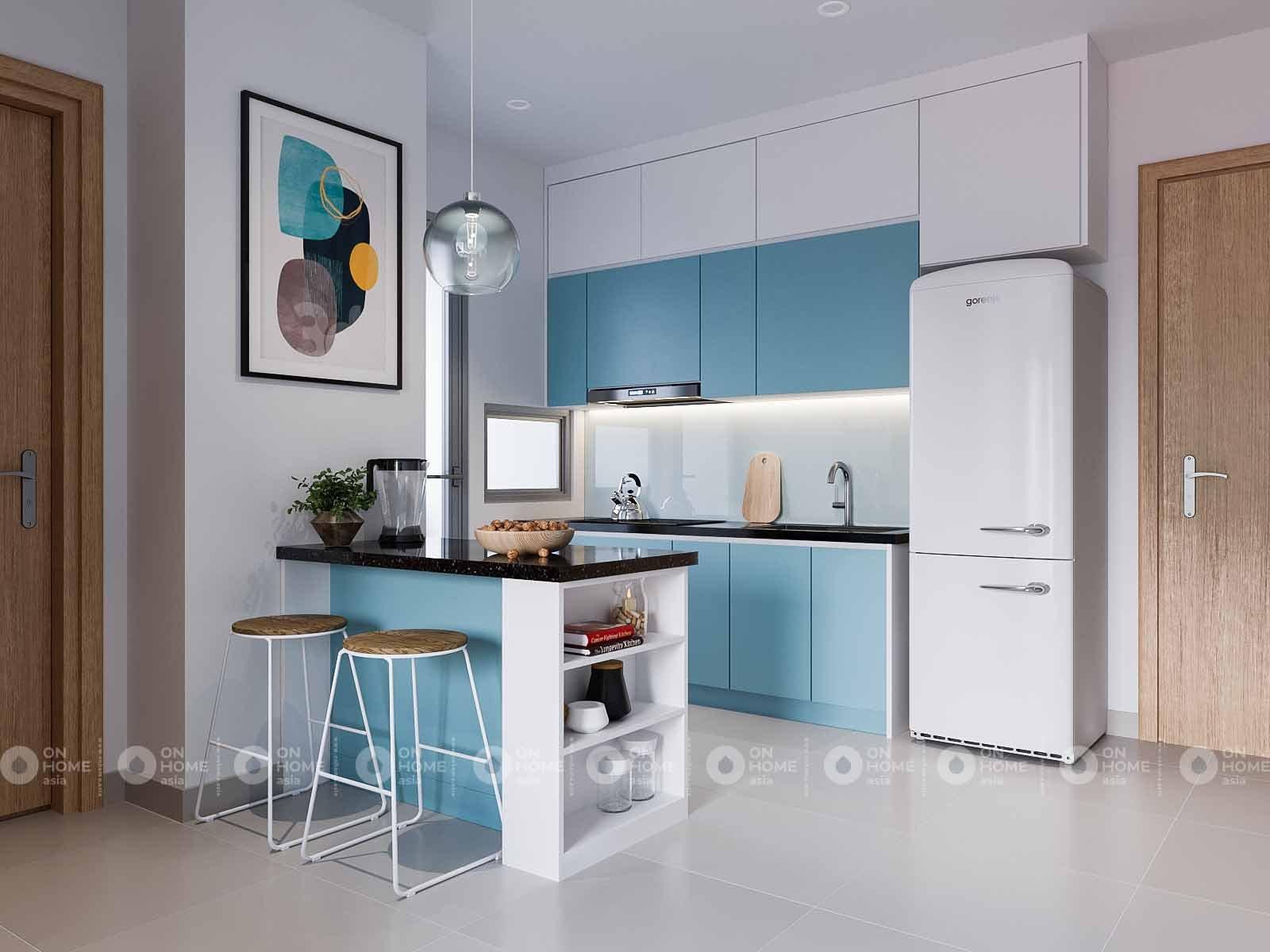 thiết kế nội thất nhà bếp hiện đại căn hộ compass one