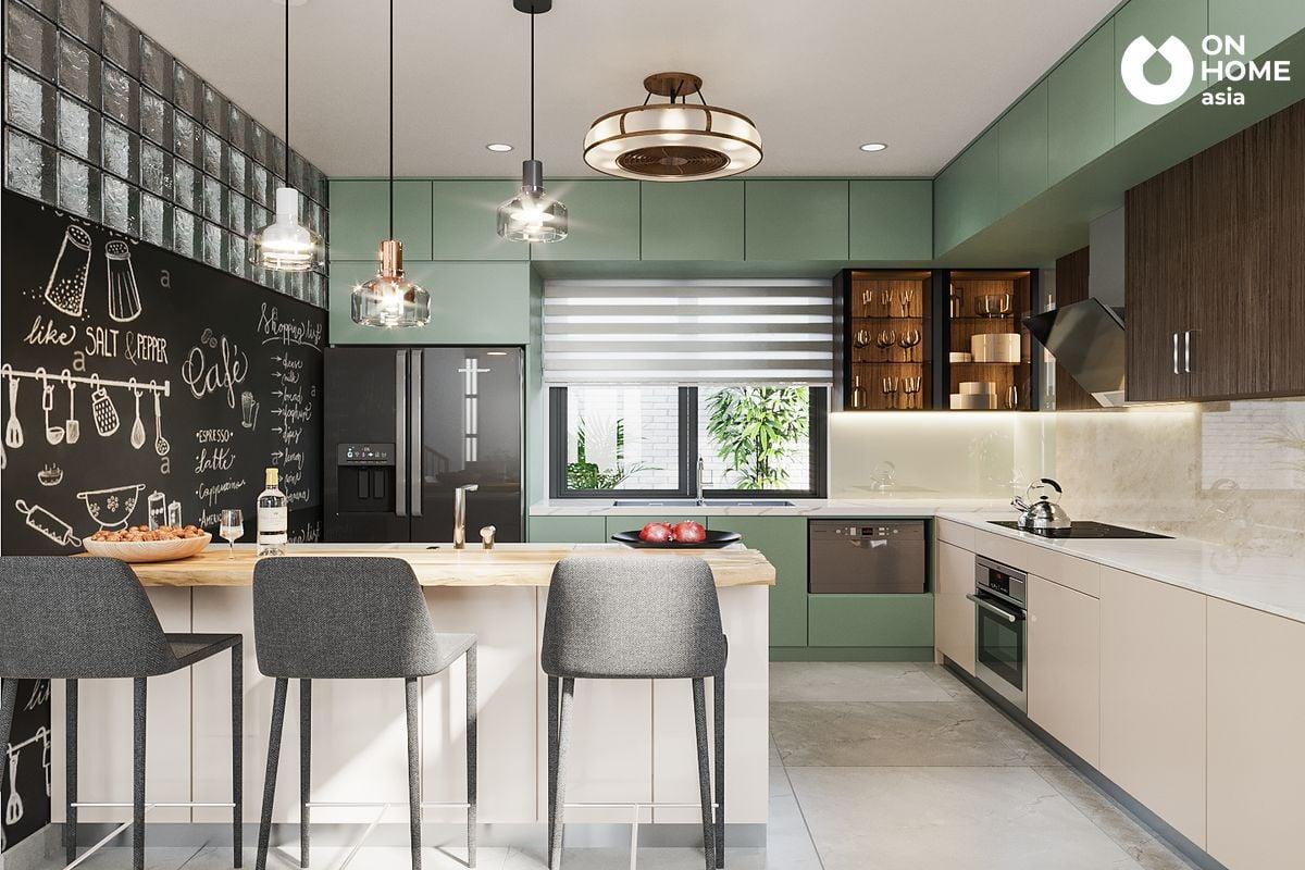 Thiết kế nội thất phòng bếp nhà phố 3 phòng ngủ