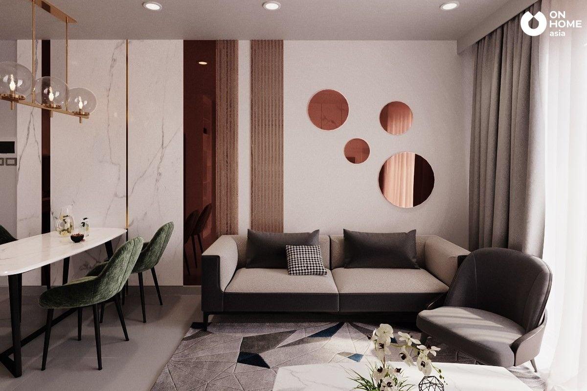 Thiết kế nội thất phòng khách căn hộ compass one