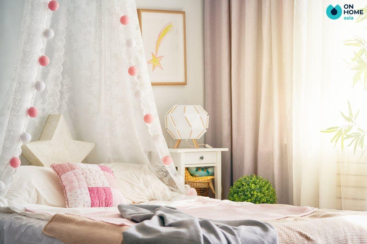 thiết kế nội thất phòng ngủ 20m2 cho bé gái