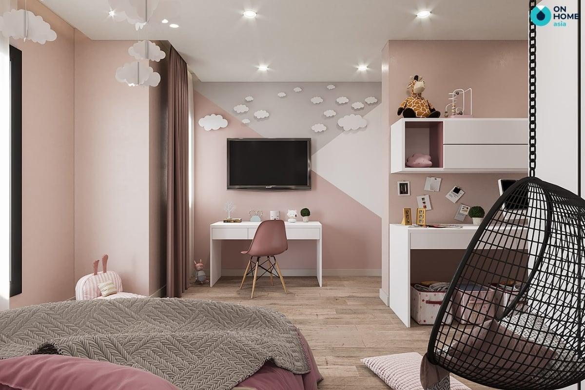 phòng ngủ bé gái tiện nghi