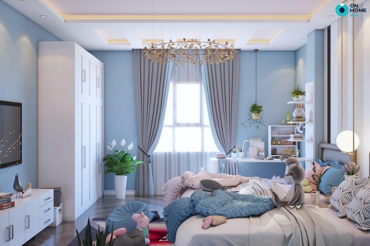 phòng ngủ màu xnah cho bé gái 10 tuổi