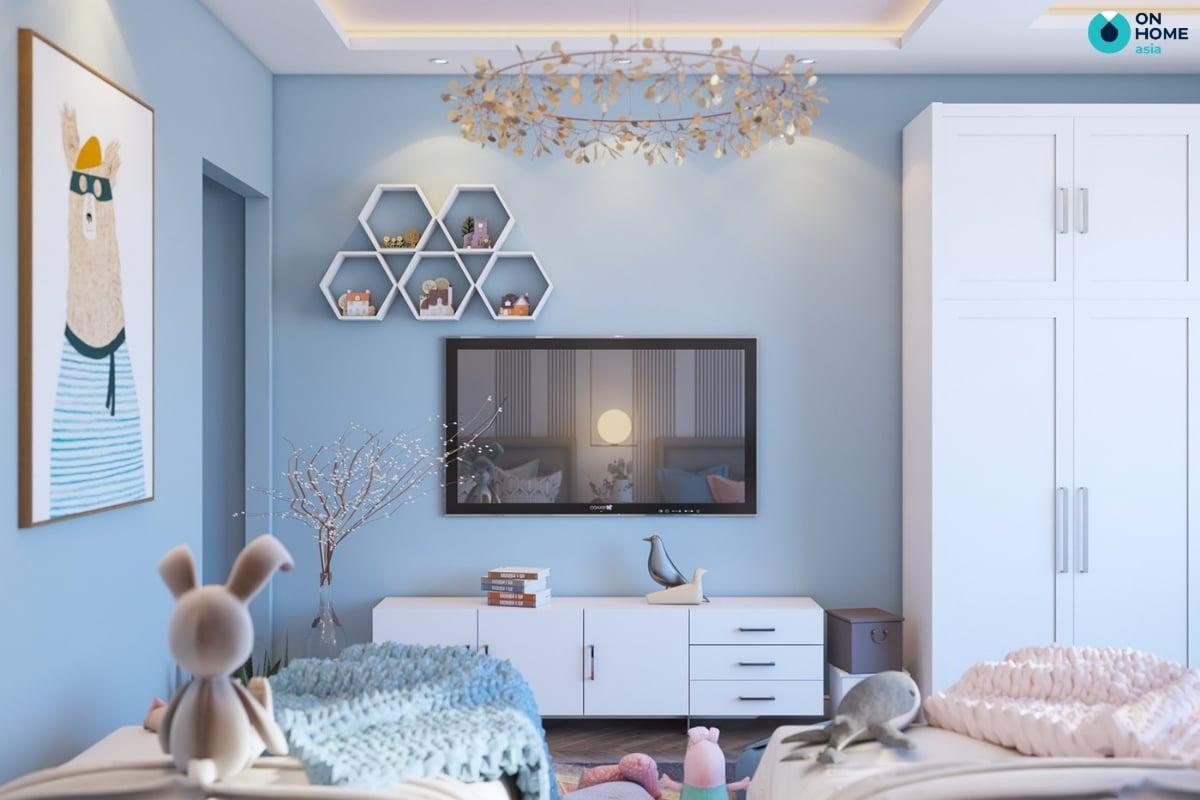 phòng ngủ cho bé gái với màu xanh đẹp mắt