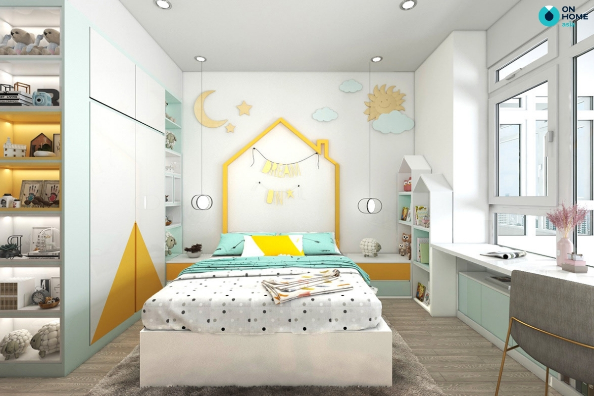 nội thất phòng ngủ vàng xanh trắng