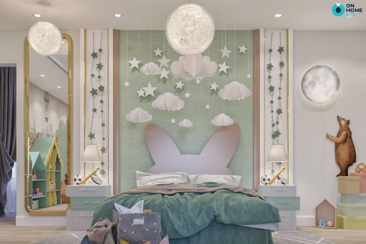 phòng ngủ với màu xanh pastel đẹp mắt