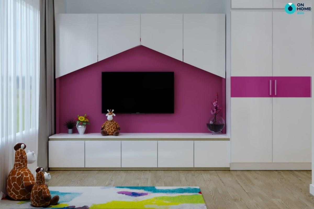 phòng ngủ màu tím đậm