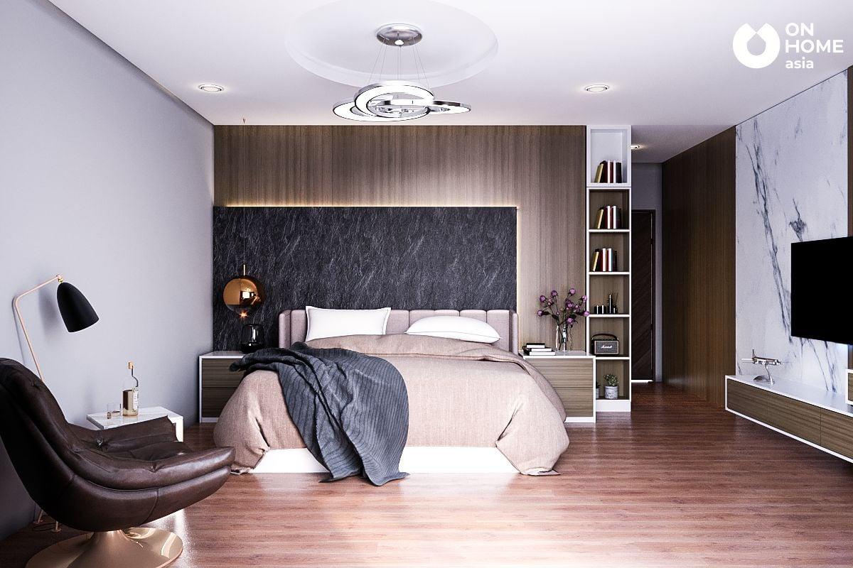Thiết kê nội thất phòng ngủ master của anh Trung Tuyến