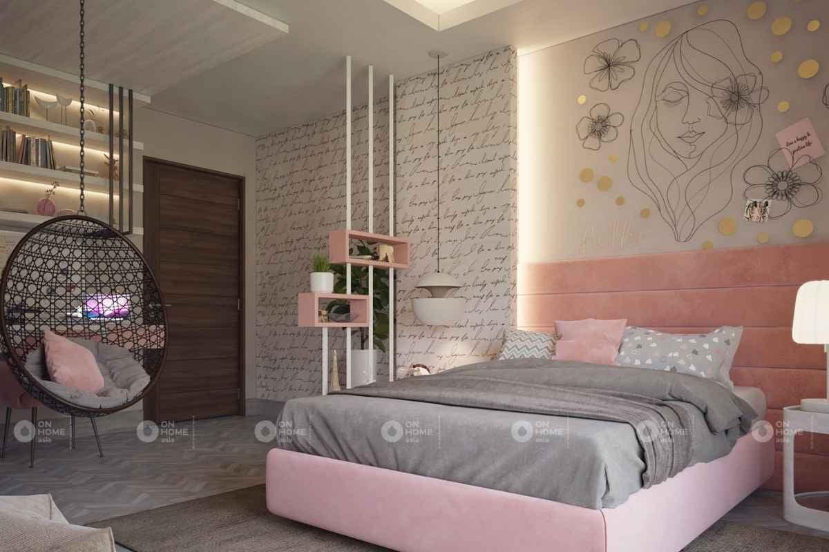 Thiết kế nội thất phòng ngủ màu hồng