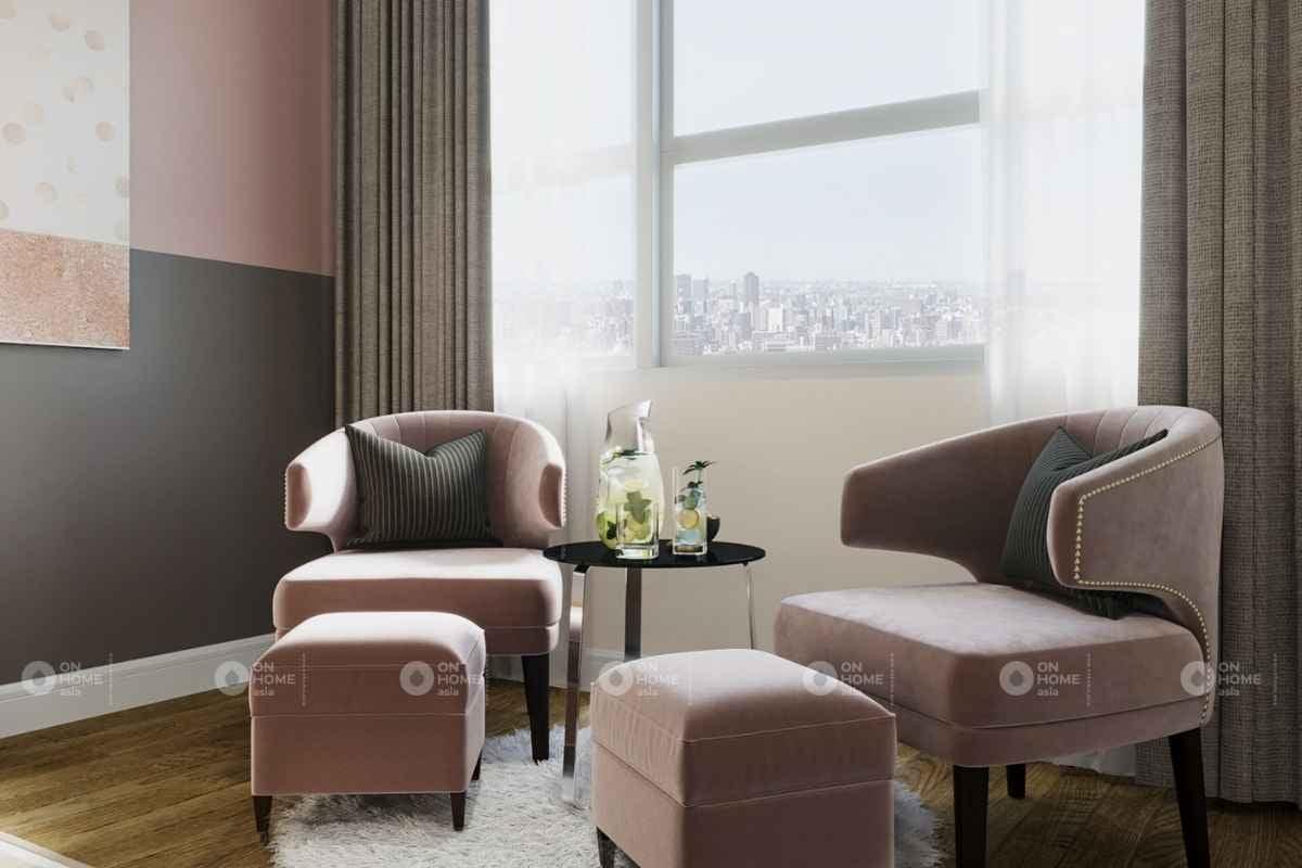 Thiết kế nội thất với gam màu hồng xám trắng