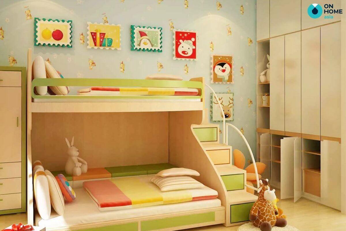thiết kế phòng ngủ 20m2 cho bé