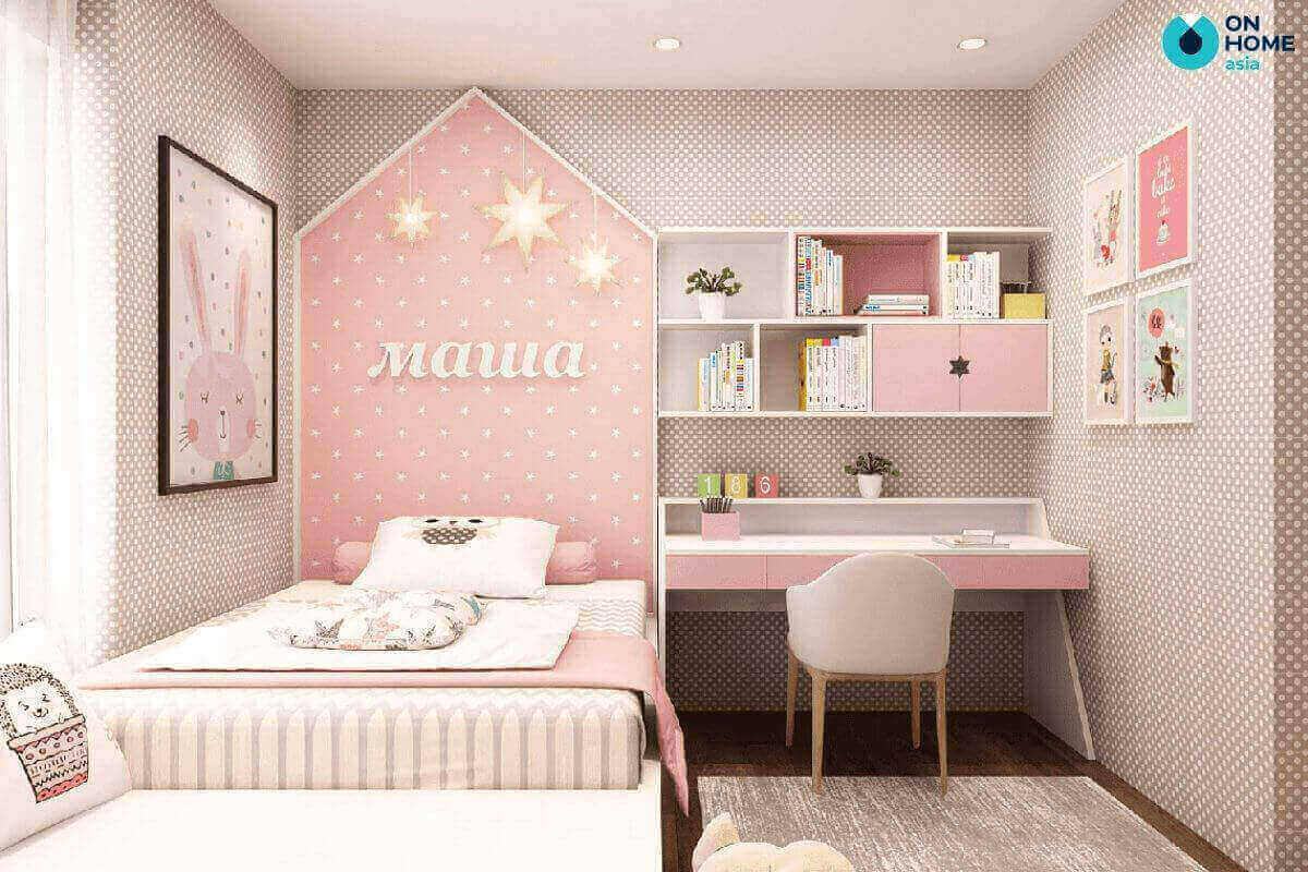 thiết kế phòng ngủ 20m2 cho bé gái