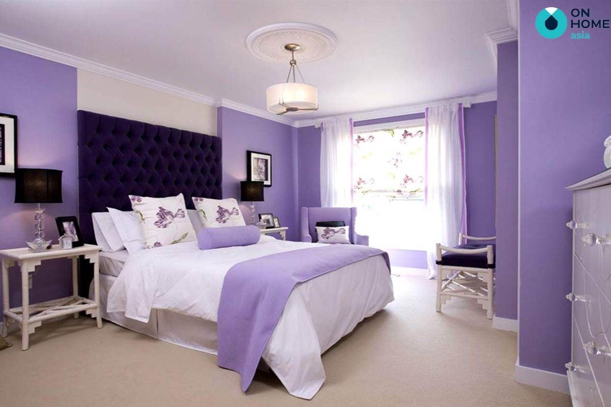 Thiết kế nội thất tím trắng