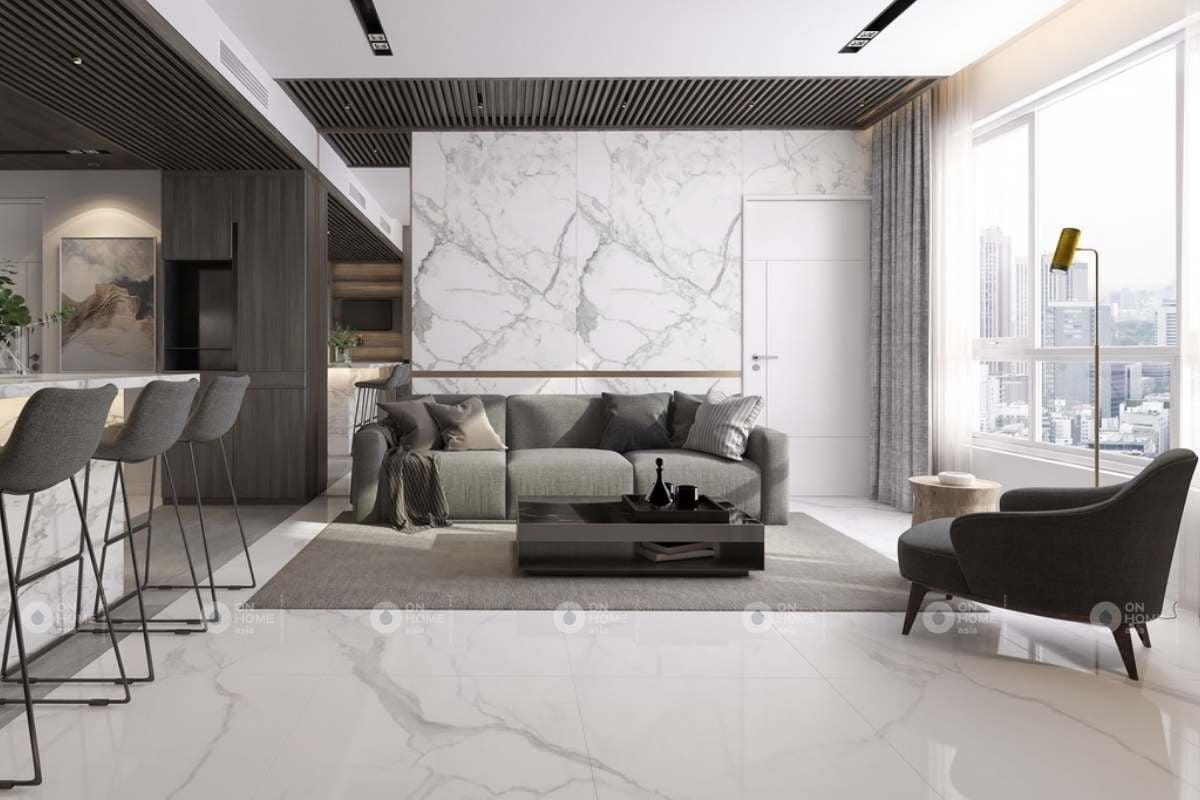 Gạch ốp tường trang trí phòng khách với những vân đá mềm mại