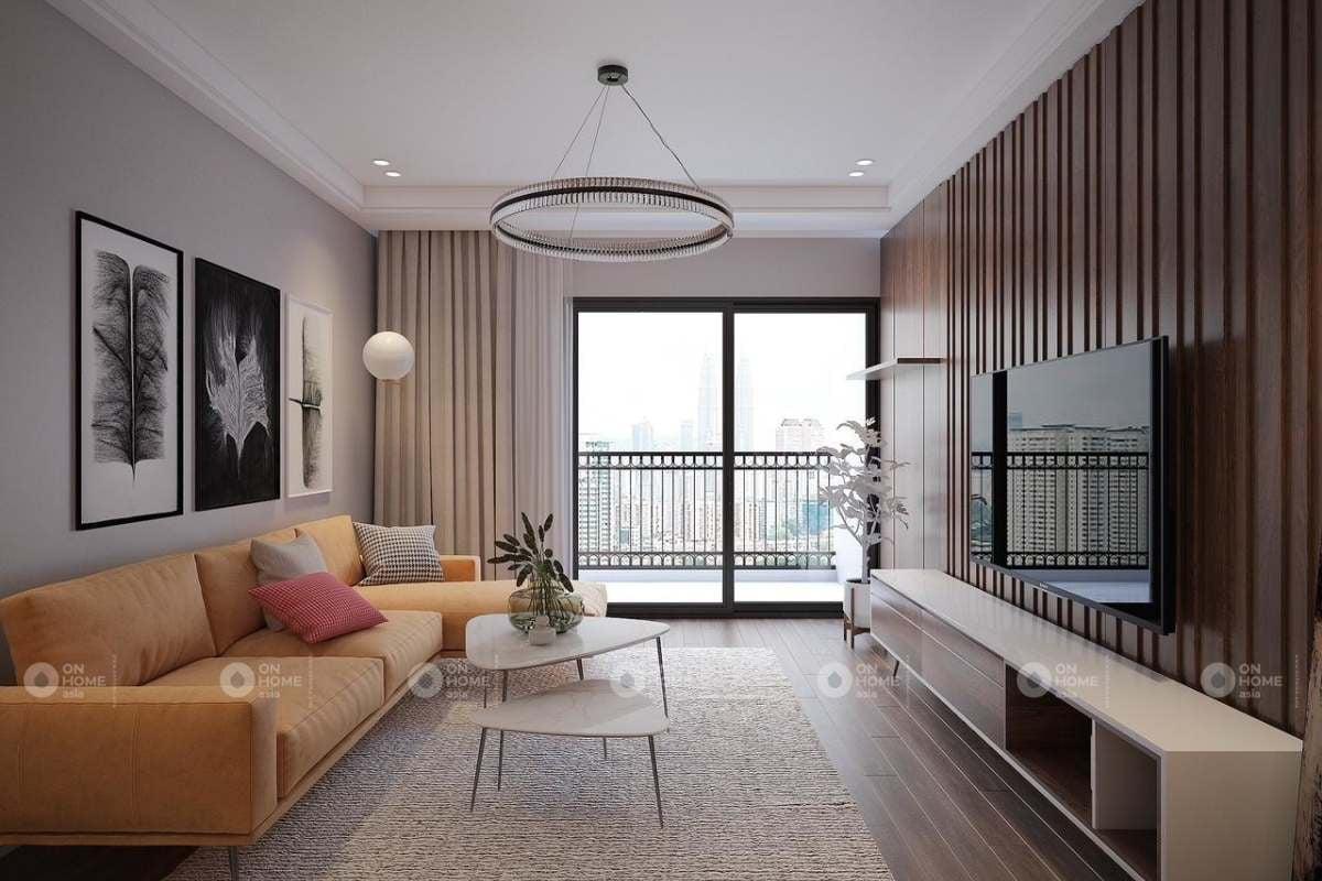 Lam gỗ trang trí tường phòng khách