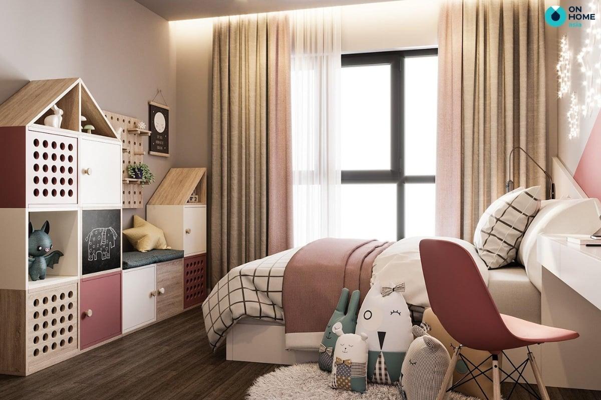 phòng ngủ màu hồng phấn dễ thương