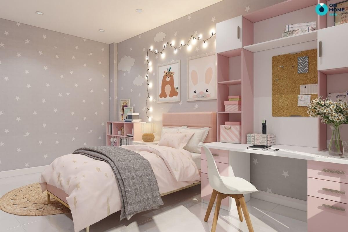 phòng ngủ cho bé gái dễ thương