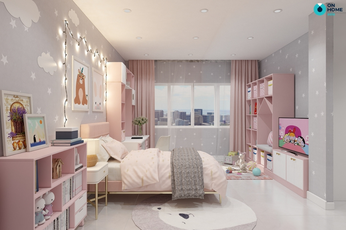 phòng ngủ bé gái hiện đại tiện nghi