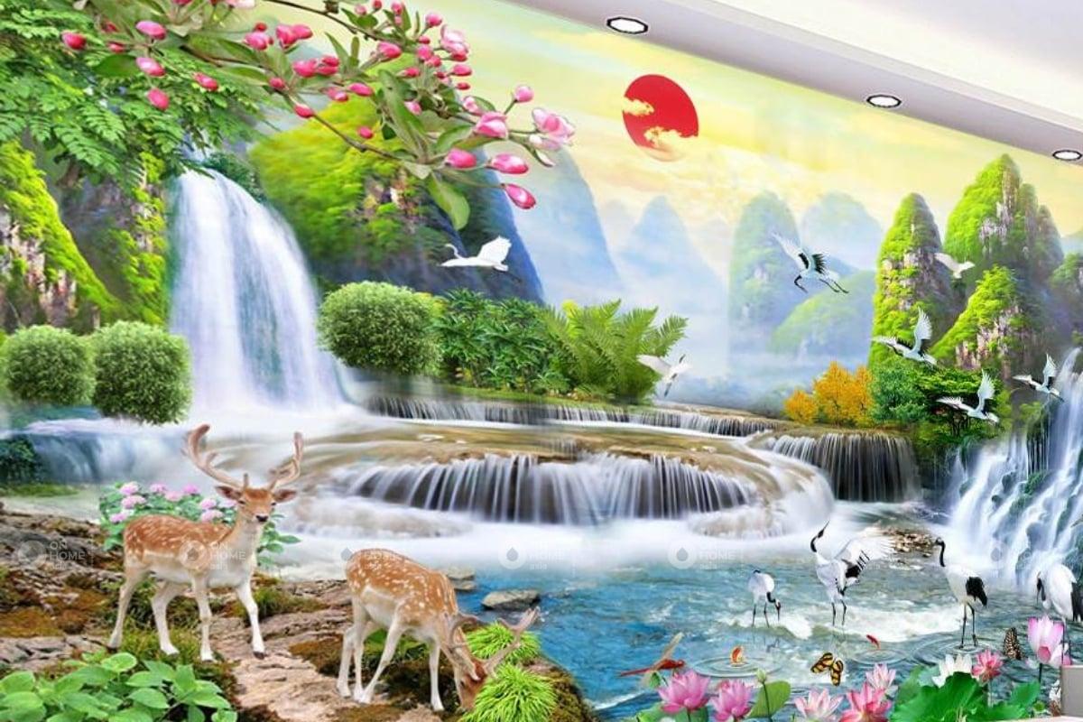tranh treo cầu thang với chủ đề thiên nhiên