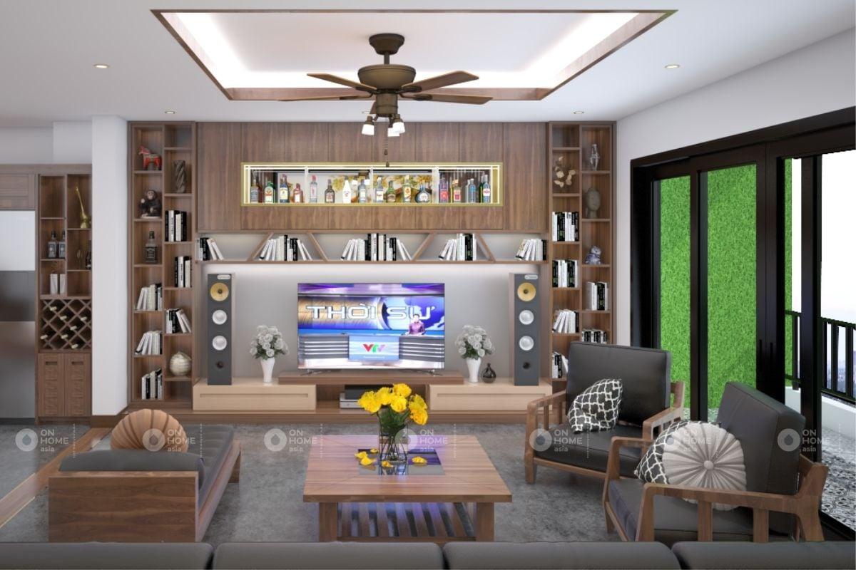 Tủ âm tường trang trí phòng khách