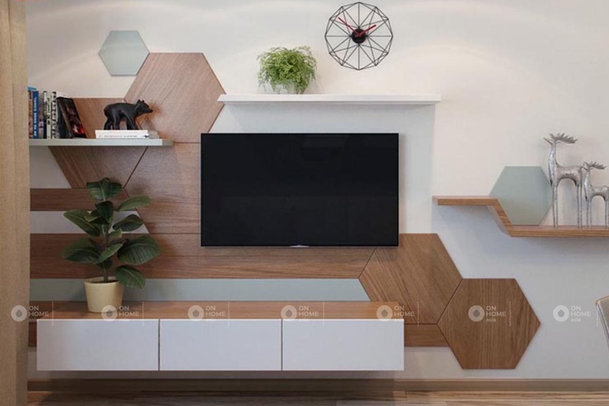 Tủ trang trí phòng khách gỗ công nghiệp